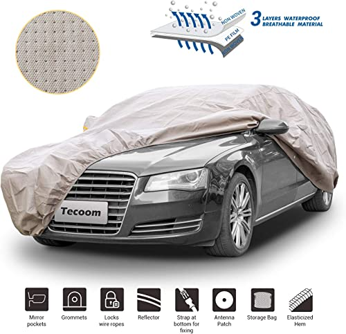 wholesale Tecoom Thick Shell Super Breathable-Waterproof Windproof Snow Sun 2021 Rain UV Protective Outdoor All Weather Car Cover Fit 201-218 discount Inches Sedan sale
