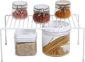 Smart Design Kitchen Storage Shelf Rack w/ Scratch Resistant Feet - Medium - Steel - Rust Resistant Finish - for Cups, Dishes, Cabinet & Pantry Organization - Kitchen (13.25 x 6 Inch) [White]