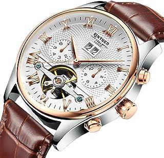 Sharplace Lujo KINYUED Hombre Reloj Mecánico Automático Hueco De Cuero Genuino Accesorios - Marrón