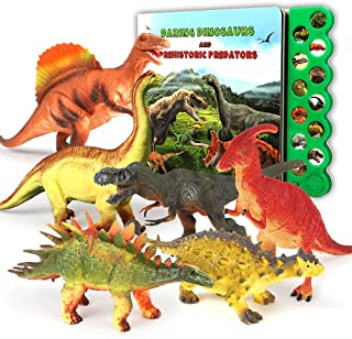 Olefun Dinosaur Toys for 3 Years Old & Up - Dinosaur Sound Book & 12 Realistic Looking Dinosaurs Figures Including T-Rex, ...
