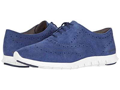 Cole Haan Zerogrand Wing Oxford Closed Hole (Blazer Blue Suede/White) Women
