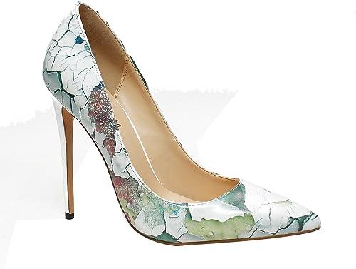 DYF Chaussures femmes nue, de pointes fines imprimer haut talon taille grande bouche peu profondes,Mur,37