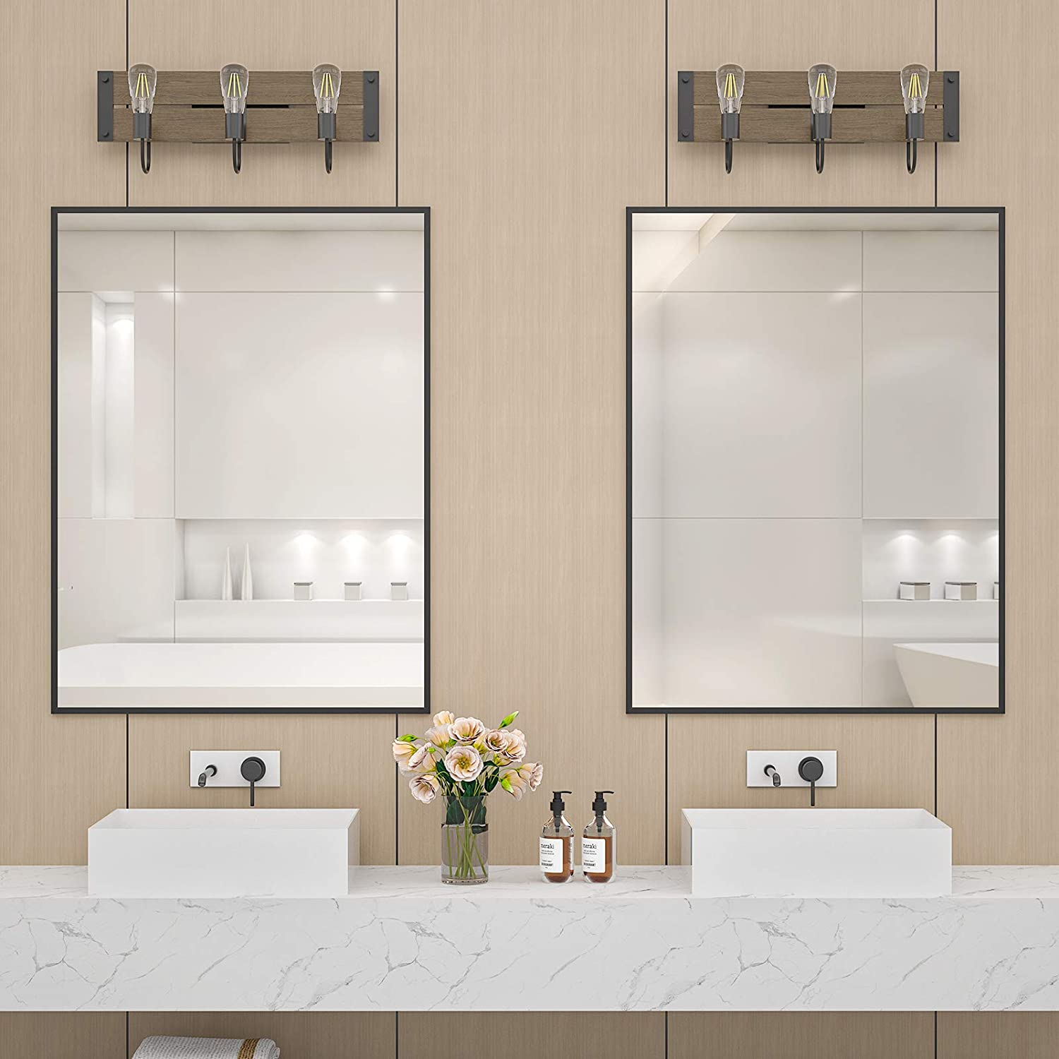 Buy Litymax 3 Light Wood Farmhouse Bathroom Vanity Lights Fixture Over Mirror Rustic Vanity Wall Sconce Vintage Wall Light With Faux Wood For Bathroom Dressing Table Living Room St64 Bulbs Included Online In