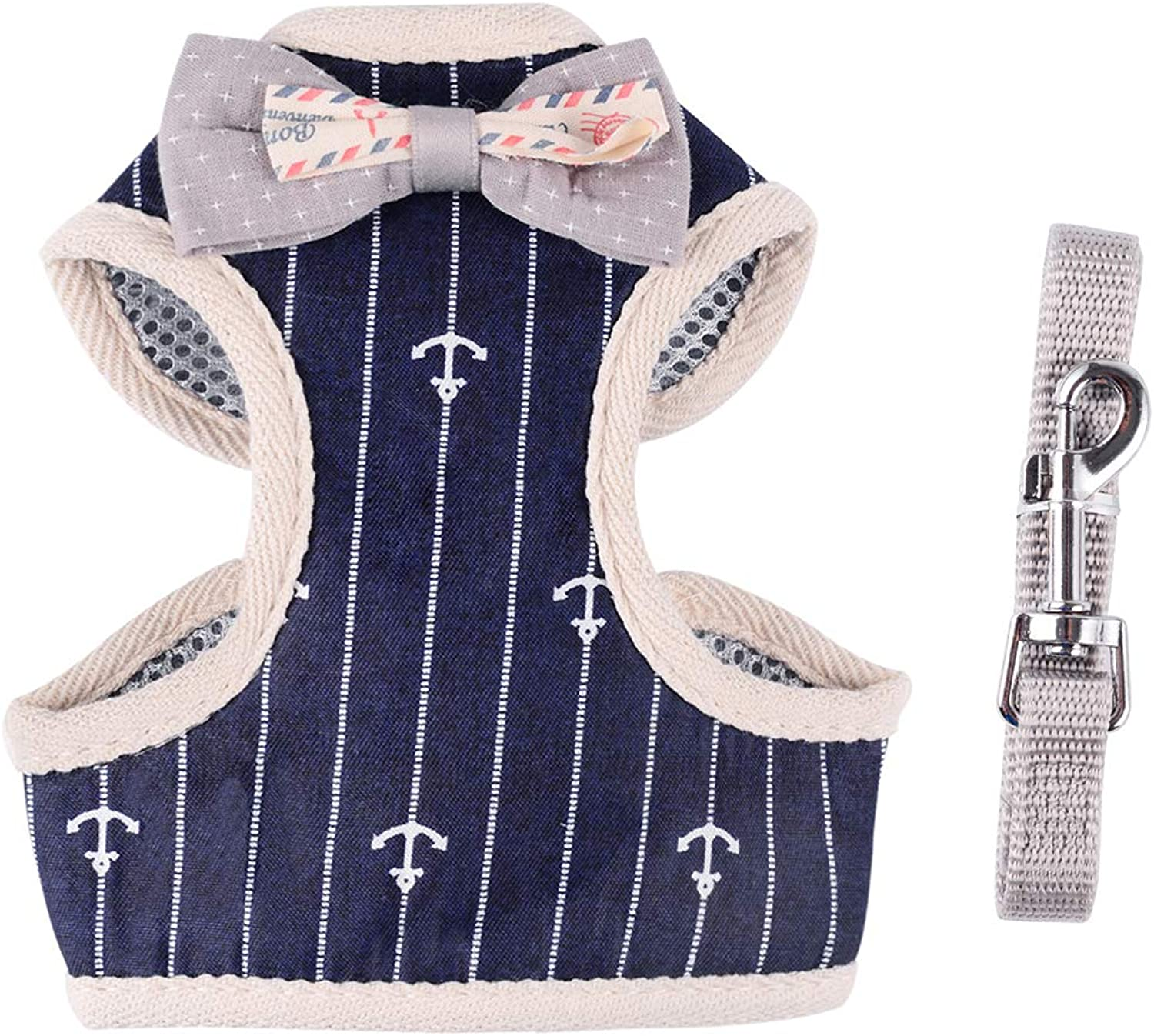 April Pets Comfortable Stylish Cotton Dog & Cat Harness Leash Set for Small Puppies and Cats (L, Navy Anchor)