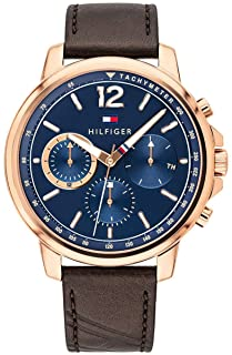 Tommy Hilfiger 1791532 Stitched Detail Leather Chronograph Round Analog Water Resistant Watch for Men - Brown