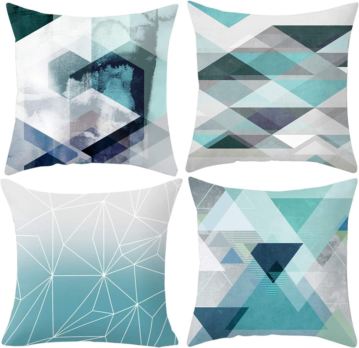Treely Decorative Pillow Covers 18x18 Inches Geometric Throw Pillow Cover, Teal-Gray, 4 Pack