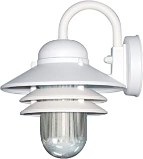 Sunlite 41367-SU Nautical Style Outdoor Wall Fixture, Medium Base Socket (E26), Weatherproof Polycarbonate, Prismatic Acry...