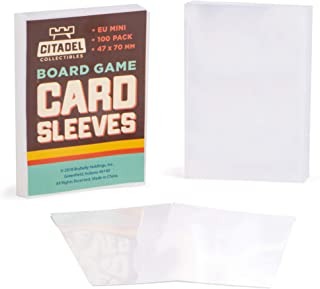 100 Pack Euro Mini Board Game Sleeves   Clear 47mm x 70 mm Card Protector Pack for European Style Board Games   Compatible with Popular Board Game and Miniature Game Brands