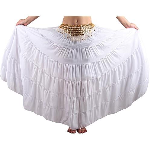 Seawhisper Belly Dance 8 Yard Bohemia Skirt, Swing Skirt, Tiered Maxi Tribal Gypsy Skirt Flared Long Retro Vintage Beach Summer Cotton Dress Costume with Gold Coins Belt Waist Chain (white)