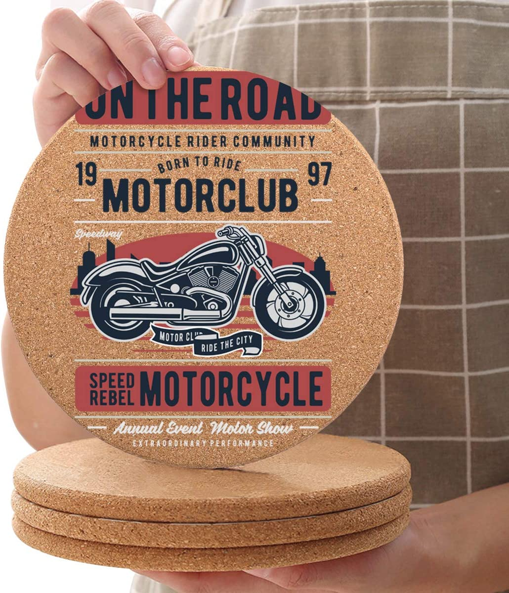 Store Free Shipping Cheap Bargain Gift Motor Club Potholders Set of 8 C 7.9inch Round Trivets Diameter