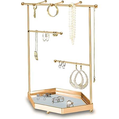 Porte bijoux en Métal Doré | Plateau en Mirroir | Organisateur Présentoir Arbre | Colliers, Boucles d'Oreille, Bracelets, Bagues, Accessoires | Emballage Cadeau | Métal Durable | 24*12*29cm (Or Rose)
