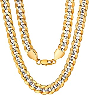 ChainsPro Men Cuban Link Chain, Dainty Necklace, 6/8MM Width, 18/20/22/24/26/28/30 Inches,Gold/Black Color (with Gift Box)
