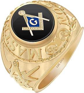 US Jewels And Gems Men's 14k Yellow or White Gold Master Mason Simulated Onyx High Polish Freemason Ring, Size 8 to 14