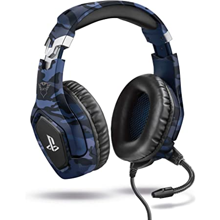 Trust Cascos Gaming PS4 y PS5 Auriculares de Gaming GXT 488 Forze-B, Licencia Oficial para PlayStation, Micrófono Plegable, Altavoces Activos de 50 mm, Cable Trenzado de Nailon de 1.2 m, Azul