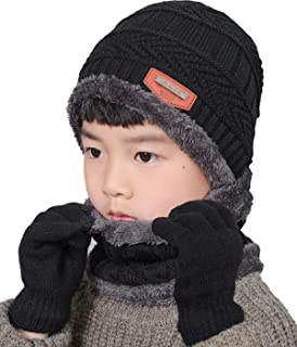 T WILKER 3Pcs Winter Hats Neck Warmer Scarf and Touch Screen Gloves Set for Kids