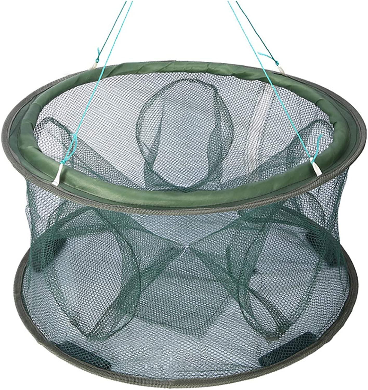 DPPAN Foldable Cast Mesh Trap Dip Cage Fishing Landing Net, Portable for Baits Fish Minnow Crawfish,5 Holes