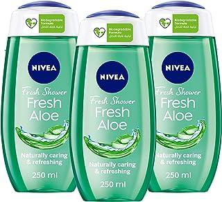 NIVEA Fresh Aloe Shower Gel, Natural Aloe Vera, Fresh Scent, 250ml, Pack of 3