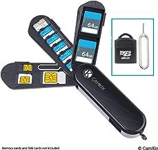 جراب تخزين بطاقة الذاكرة وبطاقة SIM مع قارئ مايكرو اس دي (USB) ودبوس مجمعة - تصميم سكين الجيش السويسري - يناسب 2X SD, 6X Micro SD, 1x Mini SIM, 1x Micro SIM و1x Nano SIM