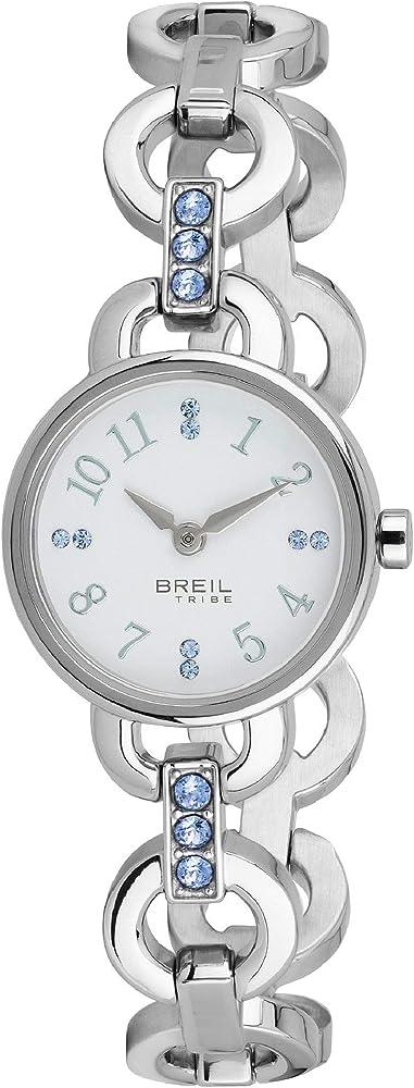 Breil,orologio per donna,in acciaio con cinturino decorato con cristalli EW0381