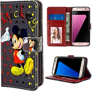 Wallet Case Compatible Samsung Galaxy S7 (2016) 5.1inch Colored Dots Background Mickey Mouse for Women
