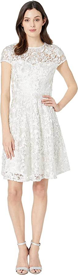 Metallic Lace Cap Sleeve Fit & Flare