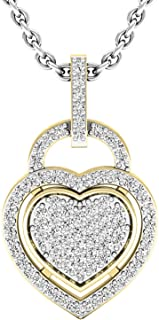 Dazzlingrock Collection 0.24 Carat (ctw) 10K Gold Round Diamond Ladies Heart Pendant 1/4 CT (Silver Chain Included)