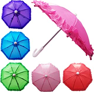 Hikfly Pack of 2pcs Cute Doll Toys Suny Rainy Umbrella for American Girl Dolls and Other 18 inch Dolls Decoration Games (E)