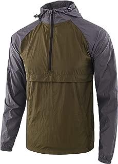 Estepoba Men's Lightweight Waterproof Zip Hoodie Rain Jacket Anorak Windbreaker