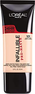 L'Oréal Paris Infallible Pro-Matte Liquid Longwear Foundation Makeup, 101 Classic Ivory, 1 fl. oz.