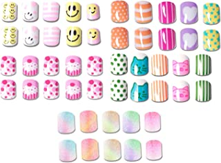 SIUSIO 120 pcs 5 Pack Children Nails Press on Pre-glue Full Cover Glitter Gradient Color Rainbow Short False Nail Kits Great Christmas Gift for Kids Little Girls