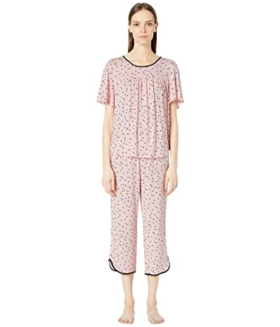 Kate Spade New York Evergreen Cropped Short Sleeve Pajama Set (Scattered Dot Pink) Women