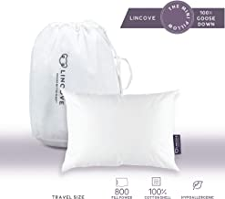 Lincove 100% Goose Down Travel Pillow – The Mini Goose Down Pillow for Travel and Toddler – 800 Fill Power, 100% Cotton Shell, 600 Thread Count (13 x 18)