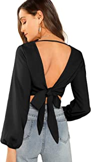 Women's Sexy V Neck Tie Back Casual Long Sleeve Crop Top Blouse