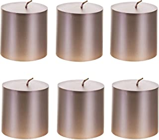 Mega Candles 6 pcs Unscented Rose Gold Round Pillar Candle, Hand Poured Premium Wax Candles 3 Inch x 3 Inch, Home Décor, W...