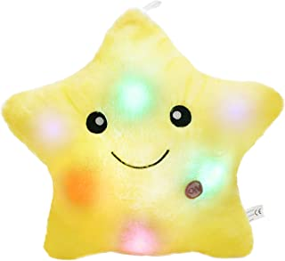 Best WEWILL Creative Twinkle Star Glowing LED Night Light Plush Pillows Stuffed Toys (Yellow) Review