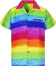 V.H.O Funky Hawaiian Shirt for Men Short Sleeve Front-Pocket Rainbow Horizontal, Multicoloured
