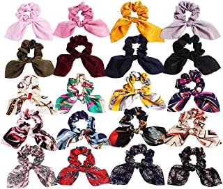 20Pack Scrunchies Hair Silk Satin Scrunchy - Cute Bow Bunny Ear Hair Elastic Ponytail Holder Bobbles Soft Elegant Elastic Hair Bands Ties, 20 Colors (20 Pack Bow Scrunchies)