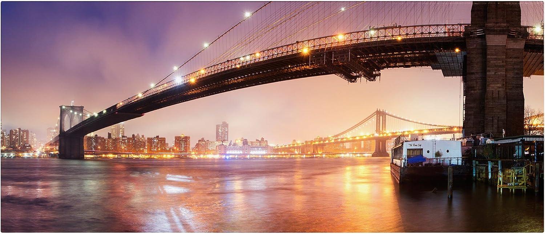 Trademark Fine Art Brooklyn Bridge Pano 1 by Moises Levy Canvas Wall Art, 6 by 19Inch