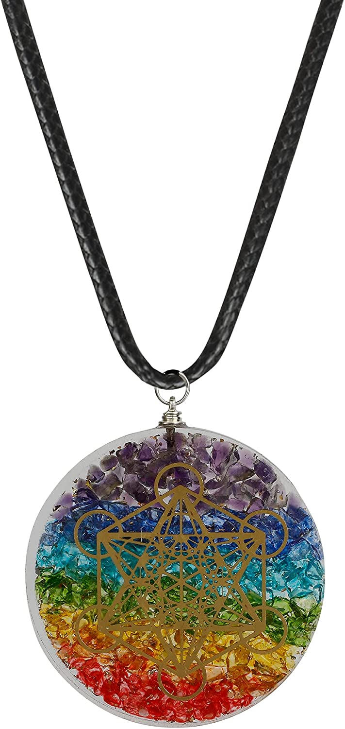 Art of Creation 7 Chakra Reiki Pendant Necklace   Negative Energy Protection   Healing Crystal Gemstone Orgonite Necklace   Spiritual Yoga Jewelry For Women And Men