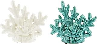 Distinctive Designs Set of 2 Decorative Porcelain Coral Replicas in White & Turquoise