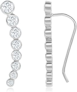 Sterling Silver 925 Gold/Rose Gold Bezel-set Zirconia Curved Bar Ear Climber Crawler Cuff Studs Hypoallergenic Earrings
