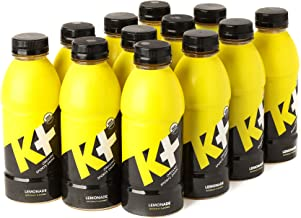 K+ Organic Sports Drink for Kids and Adults, All Natural Beverage with Vitamins and Coconut Water, Replenish Electrolytes and Boost Energy - Lemonade -16.9oz Pack of 12