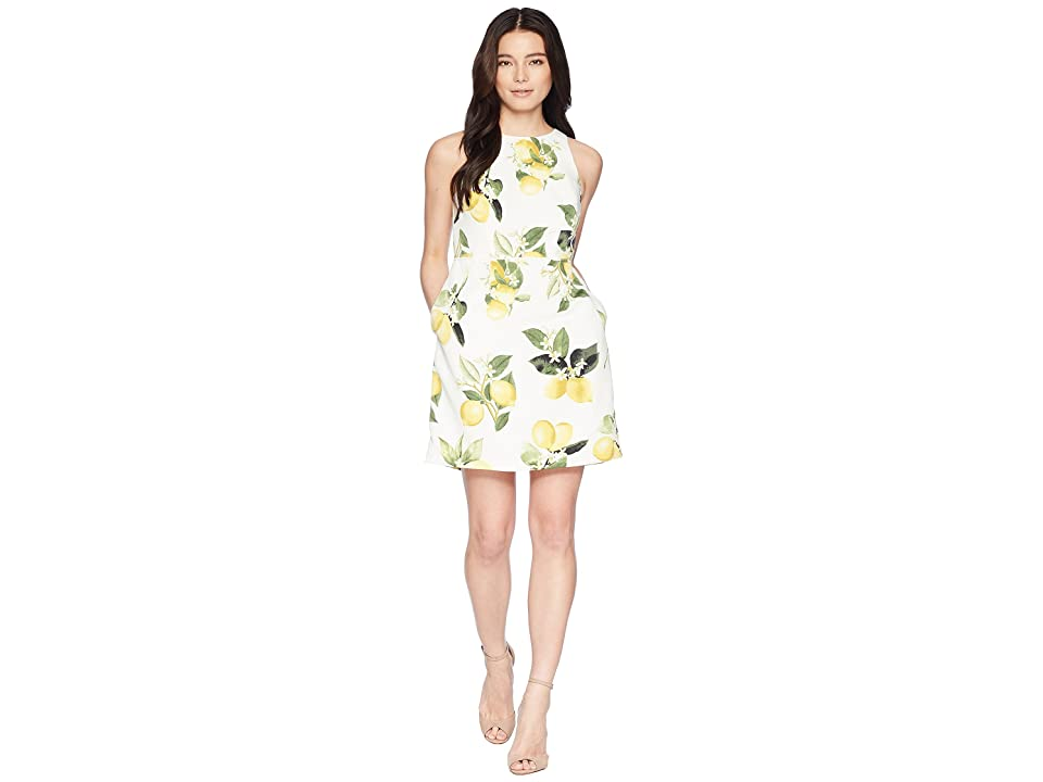 Adrianna Papell Petite Fresh Lemon A-Line Dress (Yellow Multi) Women