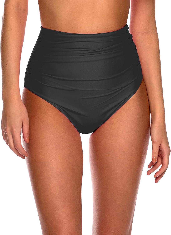 RELLECIGA Women's High Waisted Bikini Bottom Ruched Full Coverage Bikini Bottom