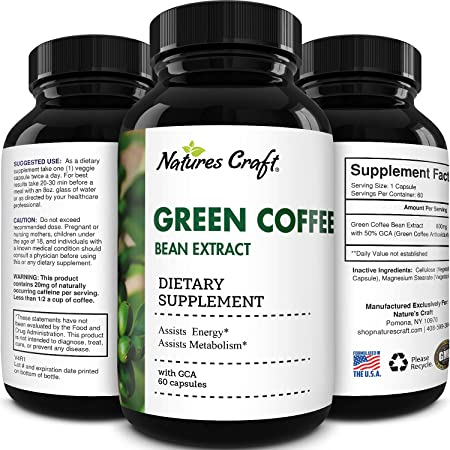 Pure Green Coffee Bean Extract - Green Coffee Extract with 50% Chlorogenic Acid for Heart Health Immune Support Brain Health Mental Focus and Size Reduction - Natural Energy Supplement for Adults