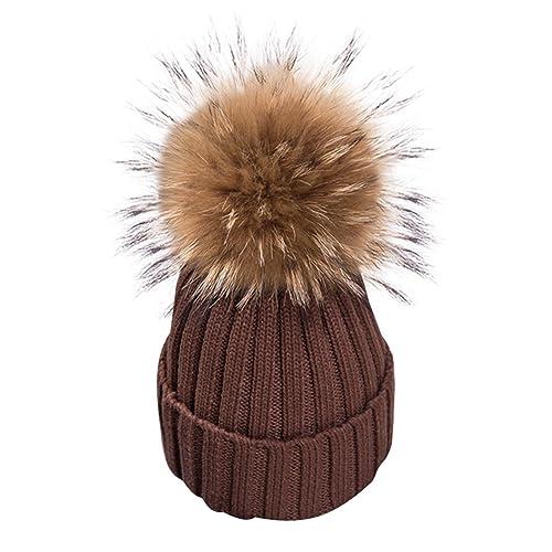 de9f8ad691f Simplee Apparel Women s Winter Warm Crochet Knit Pompon Bobble Ski  Snowboard Hat Fur Cap Brown