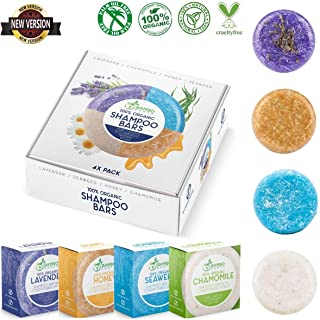 Solid Shampoo Bar And Conditioner Effect Hair Soap – 4 Pack 100% Organic Shampoo Bars For Hair With All Natural Plant Based Essential Oils And Eco Friendly Zero Waste Biodegradable Packaging