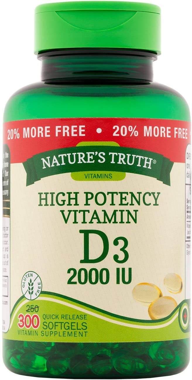 Nature's Truth 2021 High Potency Vitamin D3 2000 Sof Quick IU Popular product Release
