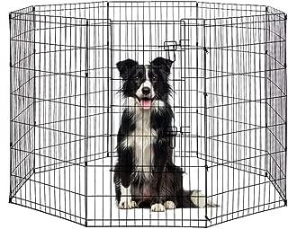 BestPet Puppy Pet Playpen 8 Panel Indoor Outdoor Metal Protable Folding Animal Exercise Dog Fence,24
