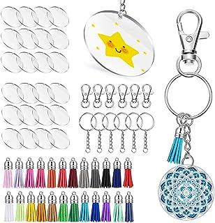 Umisu 24 Pieces Acrylic Transparent Circle Discs 2 Inch Diameter Round Clear Acrylic Keychain Blanks and Tassel Pendant 96...